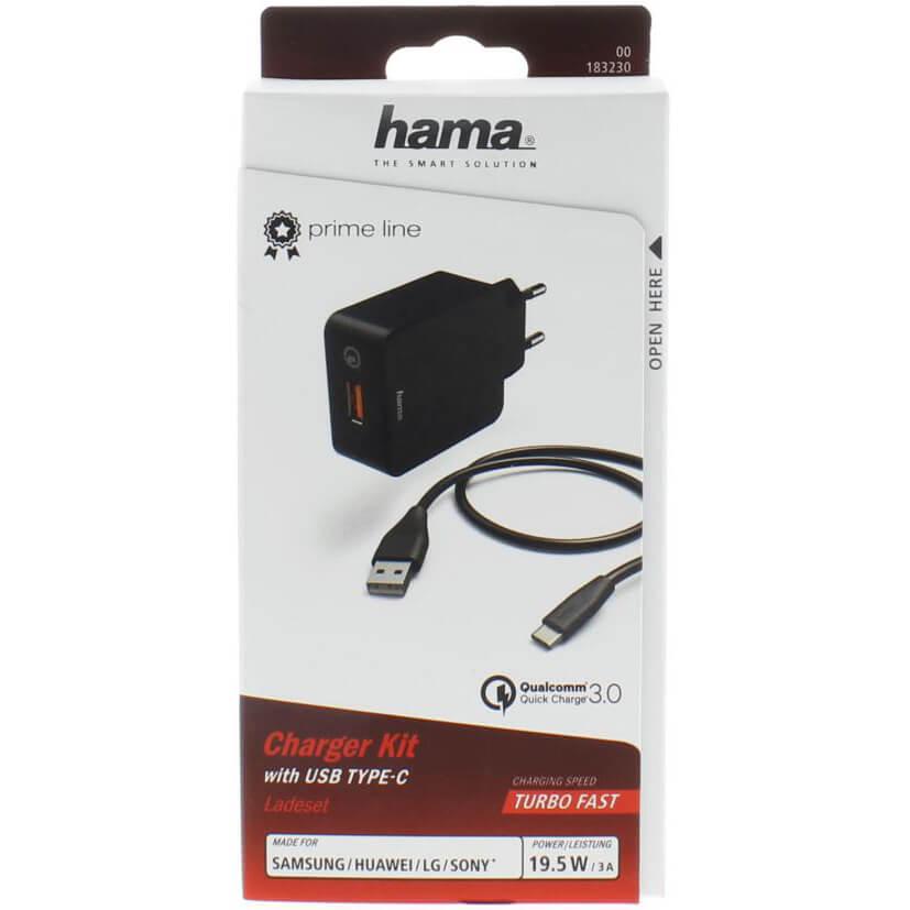 HAMA Charger 220V USB C 3A Black